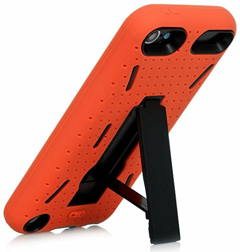 iPod Touch 5th Case, iSee Case (TM) Rugged Hybrid Dual Layer Protection Kickstand Full Cover Case with Video Watching Stand for Apple iPod touch 5 5th Generation (it5-Armor) (Orange on Black) (A Cas Of A Ipod)