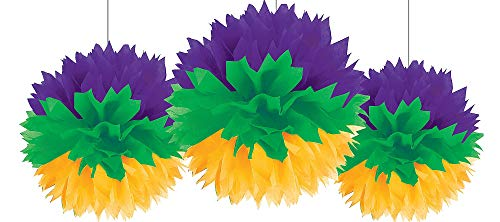 Mardi Gras Party Fluffy Hanging Decorations, 3 Ct.