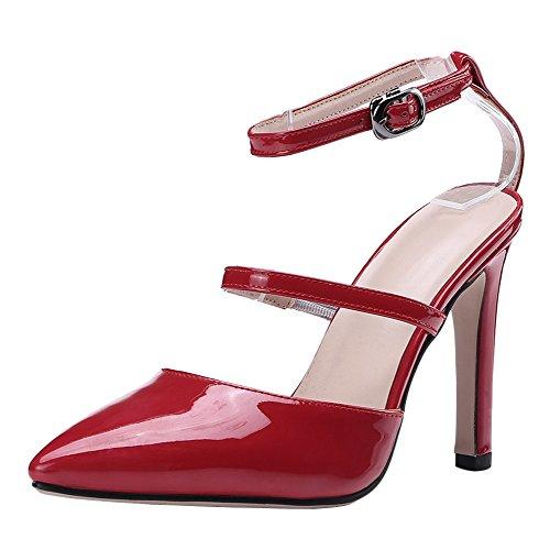 TAOFFEN Women Ankle Strap Sandals Thin Heel Red GgfnmaOT