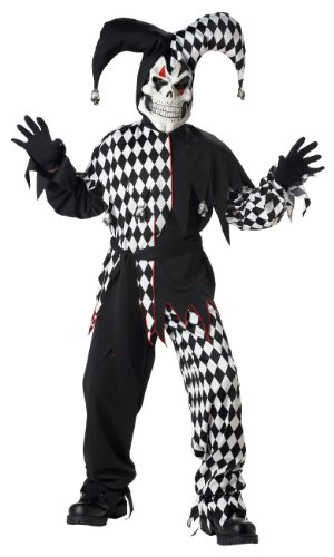 Evil Jester Child Costume, Size M =
