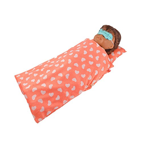 Baby 3PCS Reversible Doll sleeping bag &Eye mask& pillow Clothes For 16-18 inch American Girl Doll (Orange)