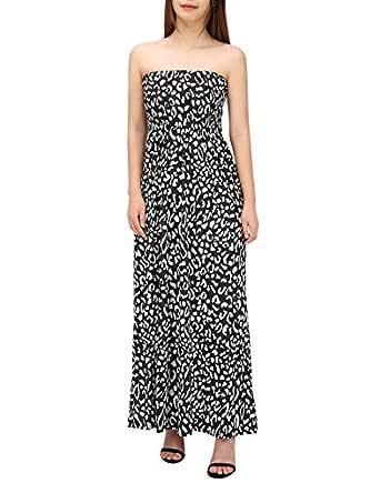 HDE Women's Strapless Maxi Dress Plus Size Tube Top Long Skirt Sundress Cover Up - Black - Small