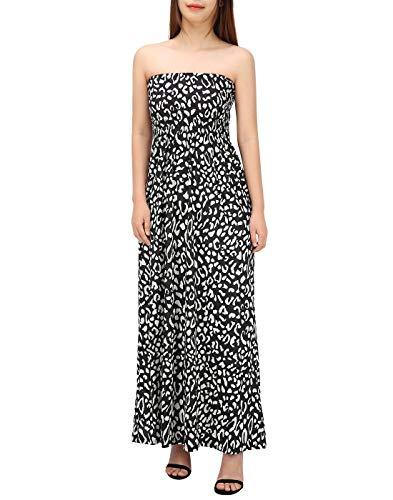 HDE Women's Strapless Maxi Dress Plus Size Tube Top Long Skirt Sundress (Leopard, Large) ()