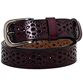 AmyKer Women Genuine Leather Belt for Jeans Pants Dress with Prong Buckle, Hollow Flower Design Ladies Waist Belt, Red…