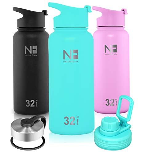 Nature Flask - Water Bottle Stainless Steel, Vacuum Insulated Water Bottle, Insulated Water Bottle, 3 Bonus Lids Wide Mouth, Double Walled, Simple Thermo Modern Travel Hydro Mug (Caribbean, 32 Ounce)