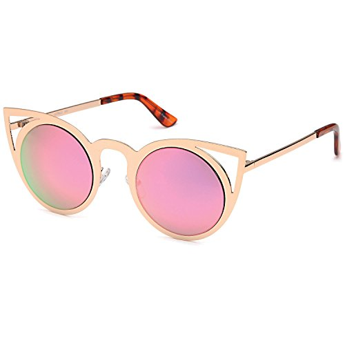 CATWALK Womens Cat Eye Metal Cut Out Fashion Frame Round Sunglasses with Mirror Flash Lens - Glasses Women For Funky