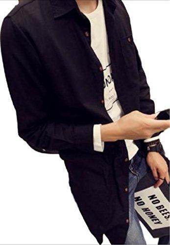 【WildCats】メンズ長袖シャツロング丈シャツ緩めのシルエット綿ライトアウターシャツ長袖ロングシーズントップスカジュアルオシャレカッコいいエコバッグ付き