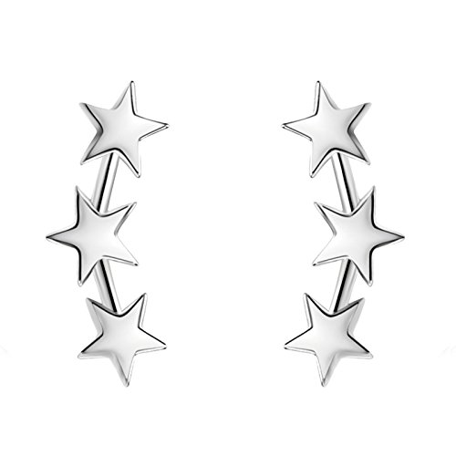 YAN & LEI Sterling Silver Triple Stars Stud Earrings Sweep Up Ear Climber Cuff Wrap Crawler