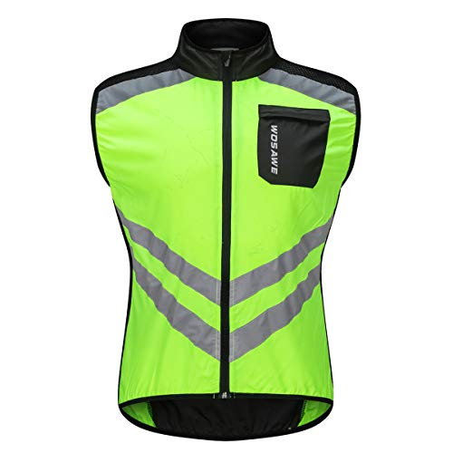 WOSAWE Men's High Visibility Cycling Wind Vest Sleeveless Reflective Bicycle Gilet (Green, XL (Chest 43.5-46″))
