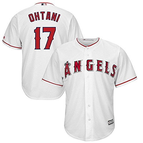 OuterStuff Shohei Ohtani Los Angeles Angels #17 White Youth Cool Base Home Replica Jersey (Medium 10/12)