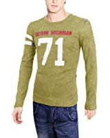Men Round Neck Pullover Long Sleeve Letter Number Prints Casual Shirt
