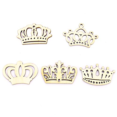 JETEHO 100 Pcs Assorted Crown Shape Hollow Out Wood Cutouts DIY Art Craft Embellishments Ornaments ()