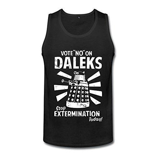 (New Men Ripple Junction's Doctor Who Vote No On Daleks Sleeveless Tshirt Cool Black XXL)