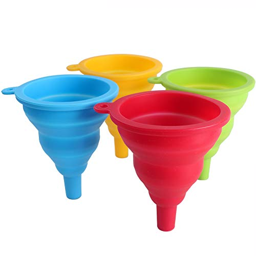 ZICOME 4 Pack Silicone Collapsible Funnel, Red, Blue, Green, Yellow