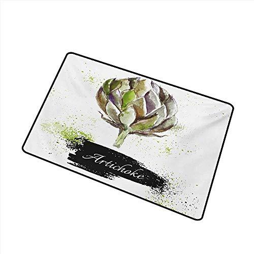 Axbkl Modern Door mat Artichoke Hand Drawn Delicious Fresh Vegetable Healthy Menu Good Eats Super Food W31 xL47 Easy to Clean Carpet