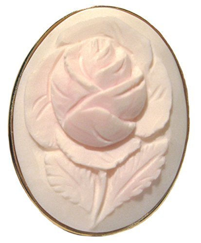 (Cameo Brooch Pendant Master Carved Italian Art Deco Rose, Angel Skin Shell, Sterling Silver 18K Gold Overlay)