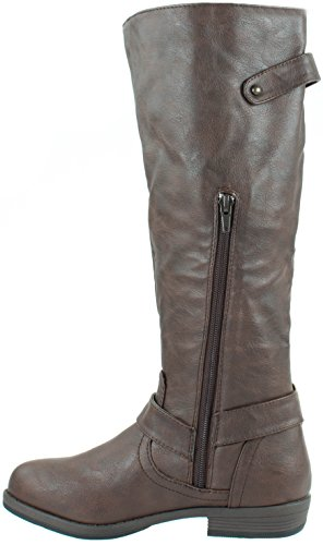 Buckles Knee with Brown On High Boots Women's Slip Jasmine Riding 11 Glaze Shoes xqPBfwY6S