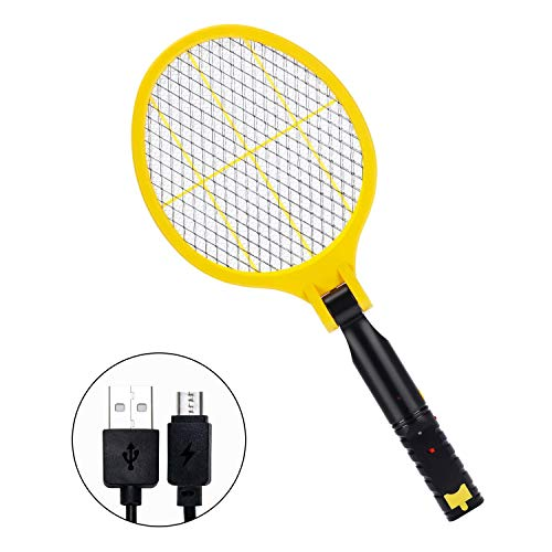 (Handheld Bug Zapper Racket, Folding Electric Mosquito Fly Swatter with USB Rechargeable, LED Lighting)