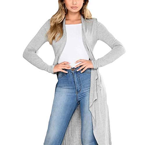 ZFFde Gray Solid Color tamaño causal Irregular Invierno manga Mujeres Front larga Open Outwear Coat M Cardigan Maxi 6r68O