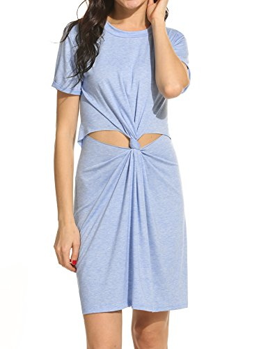 [Meaneor Women Fashion O-Neck Short Sleeve Knot-Front Hollow Out Solid Dress] (Witch Cutouts)