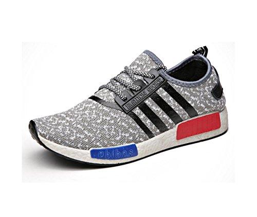HYLM Primavera Verano El Nuevo Moda Ocio Breathable Men's Shoes Movimiento De Correr Zapatos Los Hombres De Coco Zapatos Grey