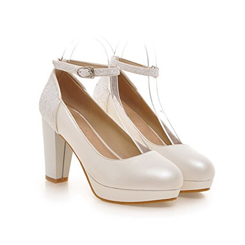 AmoonyFashion Womens Buckle Round Closed Toe High-Heels PU Solid Pumps-Shoes White zsnQvi