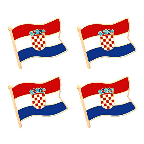 ALEY Croatia Croatian Flag Lapel Pin Decorations (4 Pack)