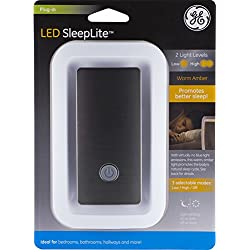 GE LED SleepLite, Plug-in Amber Night Light with Selectable Low/High/Off Modes, Promote Natural Sleep Cycles with Sleep Lights, White & Brushed Nickel, Ideal for Bedroom, Bathroom, Hallway, 36244