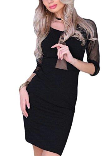 Jaycargogo Femmes Sexy Col Rond Manches Courtes Maille Moulante Coupe Slim Noir
