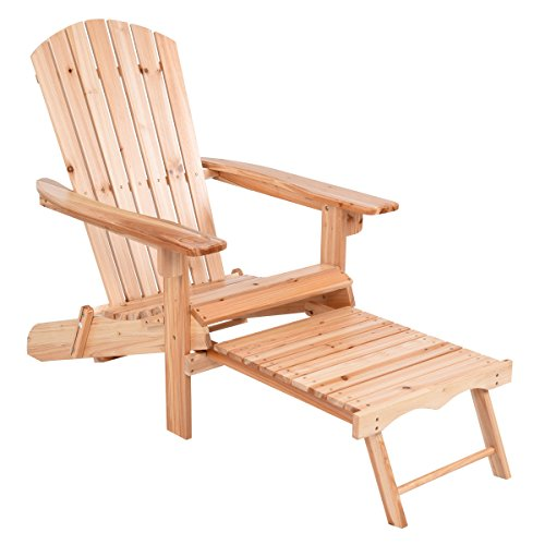 Giantex Foldable Adirondack Wood Chair With Pull-Out Footrest Patio Deck Outdoor, Natural (Adirondack Patio Chair Footrest)