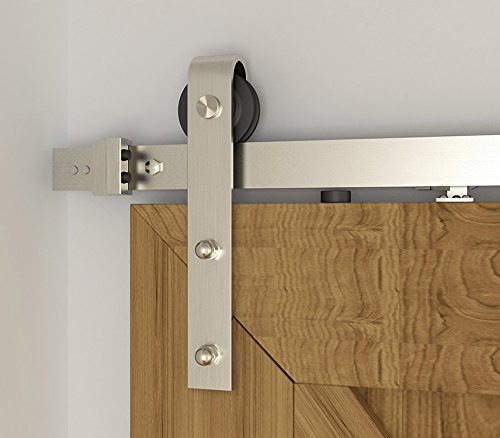 DIYHD 5.5FT Soft Closing Brushed Nickel Sliding Barn Door Hardware Two-side soft closing mechanism by DIYHD