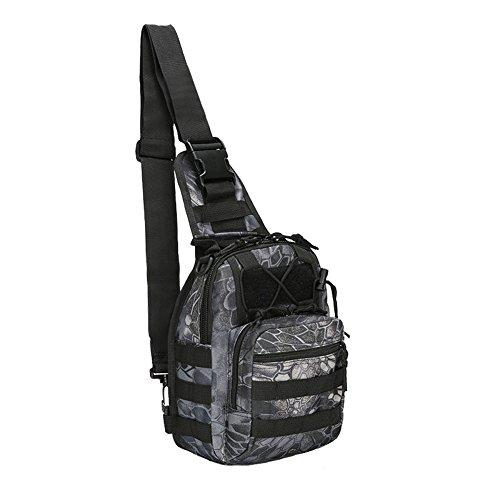 WEDO Tactical Sling Bag Pack Military Rover Shoulder Sling Backpack EDC Molle Assault Range Bags Day Pack (Pythod Black) (Python Black Messenger Bag)