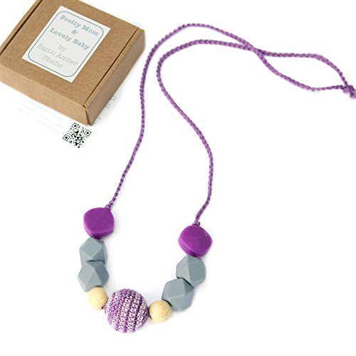 - 'Lily' Designer Teething Necklace, Gift Box & Greeting Card; Crochet, Wood & Silicone Beads Jewelry
