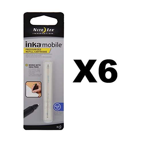 Nite Ize Inka Mobile Pen Refill Pressurized Blue Ink Cartridge Writing (6-Pack)