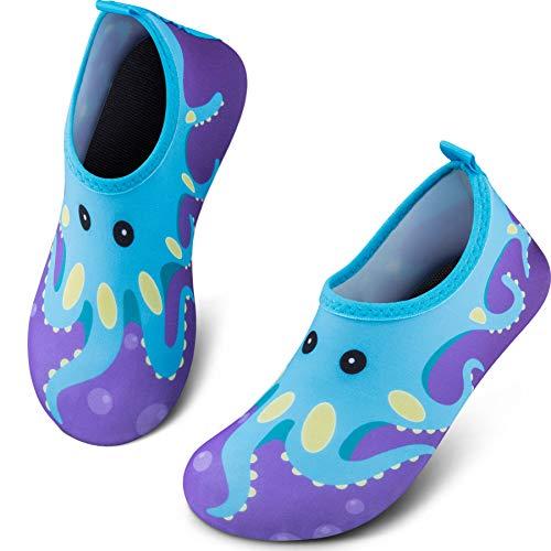 SIMARI Boys Girls' Water Aqua Shoes Swimming Pool Beach Sports Quick Drying Socks 320 Octopus - Kids Shoes 12