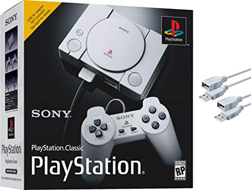 Sony Playstation Classic with 2 6ft Extension Cords and 2 Controllers