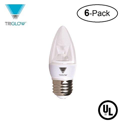 Deco Six Light - TriGlow T95543-6 (6-Pack) 5-Watt (40W Equivalent) LED Candelabra Bulb, DIMMABLE 3500K (Deco White Color) 325 Lumen E26 Medium Base Light Bulb, UL Listed, Pack of 6 Bulbs