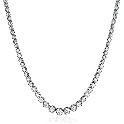 "14K White Gold 17 ""Graduate Diamond Tennis Necklace(5cttw, K-L Color, I1-I2 Clarity)"