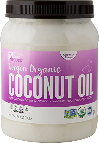 (BetterBody Foods Organic Virgin Coconut Oil — Cold-Pressed and Unrefined Coconut Oil, Medium Temperature Cooking Oil, Great Alternative To Butter, Light Coconut Flavor and Aroma, 56 Ounce)