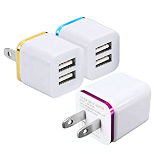 Wall Charger, 15W Universal Dual Port 2.1A & 1A Rapid Portable USB Travel Wall Adapter for iPhone 7 6S Plus, 5S, iPad Pro, Galaxy S8, S7, S6 Edge Plus, S5, Nexus, HTC, Android GoPro & More (3 Pack)
