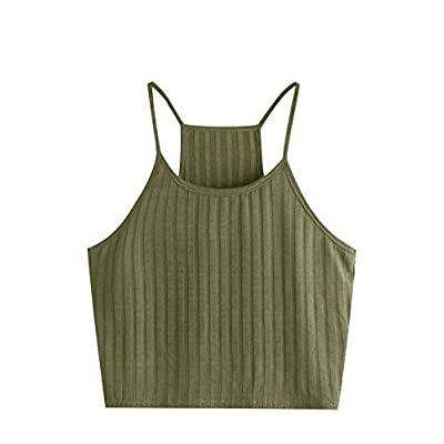 SheIn Women's Summer Basic Sexy Strappy Sleeveless Racerback Crop Top at Women's Clothing store
