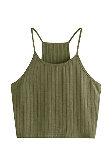Tank Womens Summer Racer (SheIn Women's Summer Basic Sexy Strappy Sleeveless Racerback Crop Top Medium Army Green)