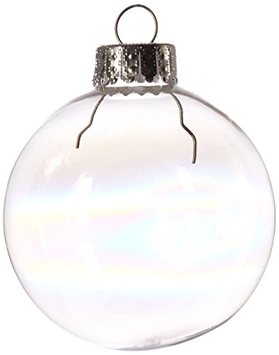 Darice Iridescent, Heavy Duty, Round Glass Balls - Removable Top - Can Be Painted, Embellished and Filled - Make Customized Holiday Ornaments - Perfect for Crafting and Winter Décor, 60mm (10 pieces)