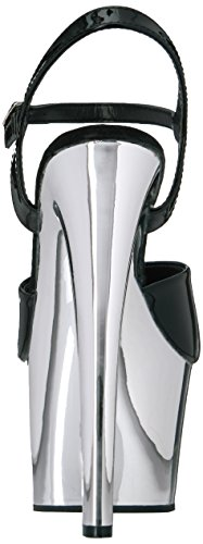 Bpu Pleaser Blk Women's SKY309 Dress Pat Slv Sandal M Chrome Platform EqErxdp0