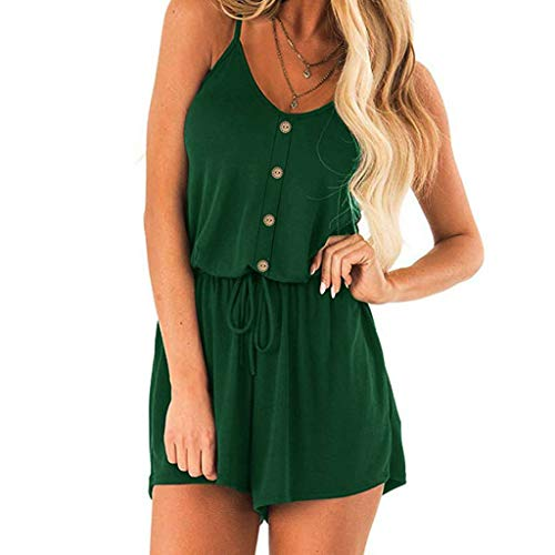 GHrcvdhw Women's Stylish Casual Solid Sleeveless Button Camisole Backless Rompers Short Jumpsuit Green