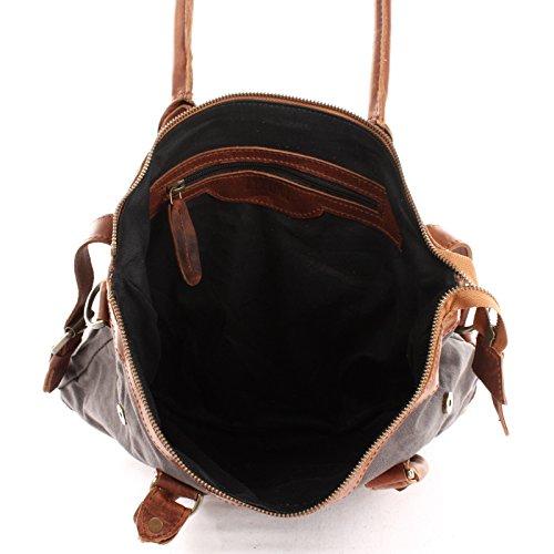 Petit loisirs épaule main toile sac dames pour en pour Sac cuir Leconi Shopper Sac pour à 37x33x12cm le marron LE0056 Shopping les Sac gris C Sacoche O58wqqR0