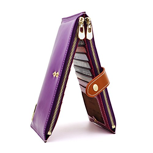- ANDOILT Women's Genuine Leather Wallet RFID Blocking Credit Card Holder Zipper Purse Cell Phone Handbag Purple