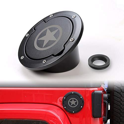 Accessories Fuel (JeCar Gas Tank Cap Cover Fuel Door Cover Gas Caps for Jeep Wrangler JK & Unlimited 2007-2017 2/4 Door(Star Style2))