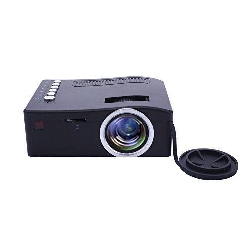 Mini Projector Portable UC18 Home Cinema HD Video Projector Support AV VGA USB Port for US_Black by ZZH
