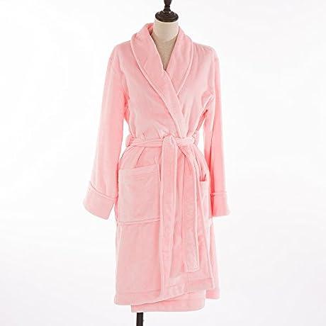 Glitzhome Women S Plush Soft Warm Fleece Bathrobe Robe Bright Pink